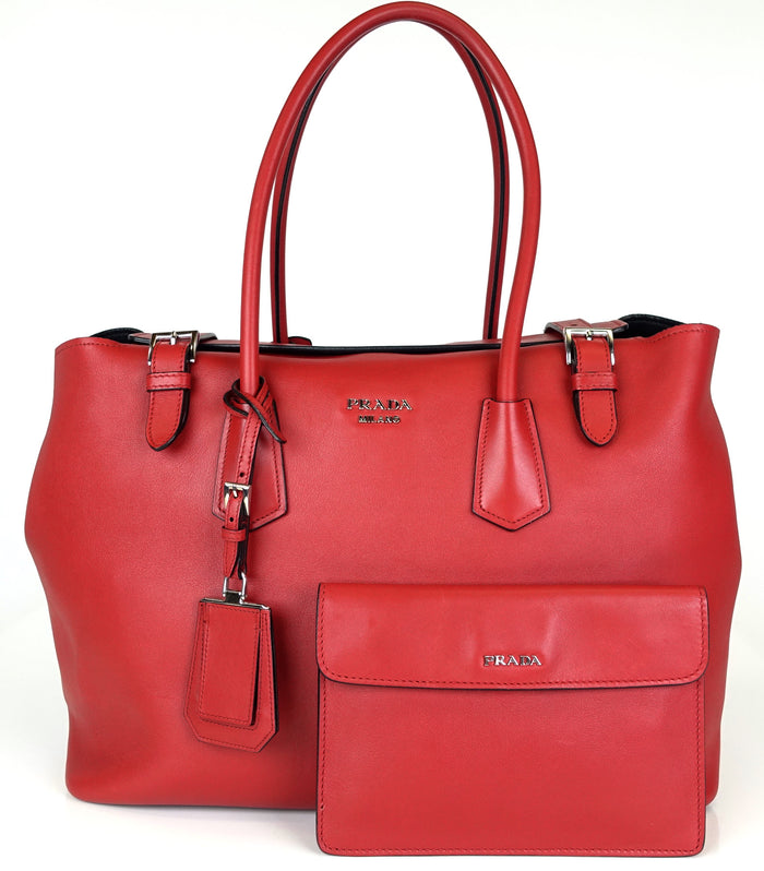124e16795c33 Calfskin Leather Buckle Tote Bag. Prada