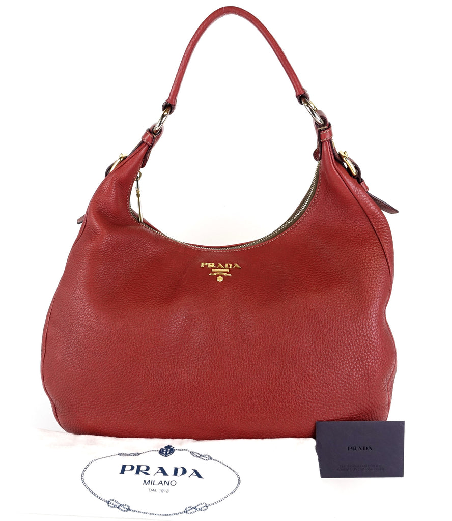 0068e7517b54 Prada Vitello Daino Leather Large Hobo Bag – Poshbag Boutique