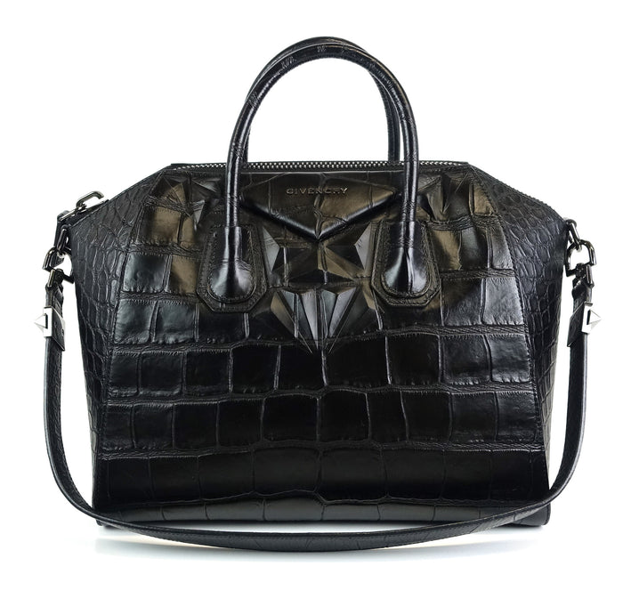 Antigona Crocodile Embossed Calf Leather Medium Bag