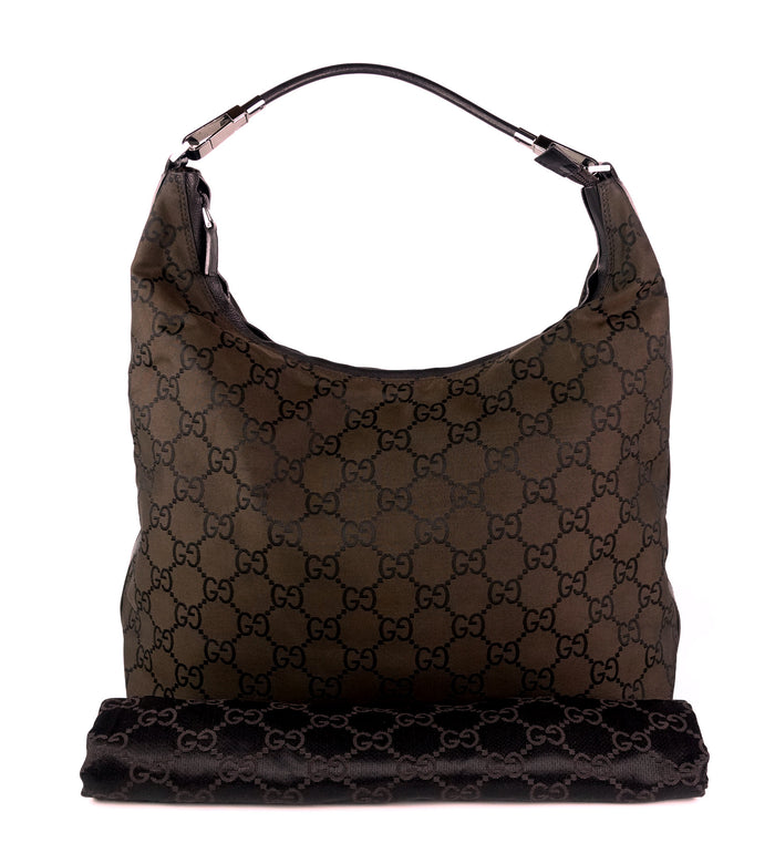 GG Monogram Nylon Hobo Bag