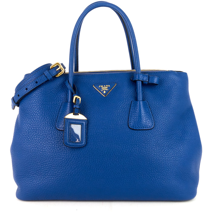 Double Zip Vitello Daino Leather Tote Bag