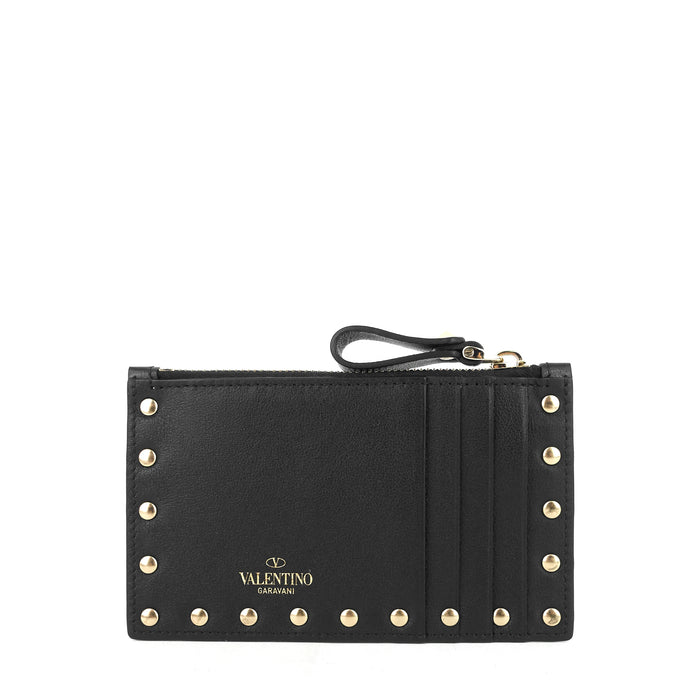 Rockstud Calfskin Card Holder with Zipper