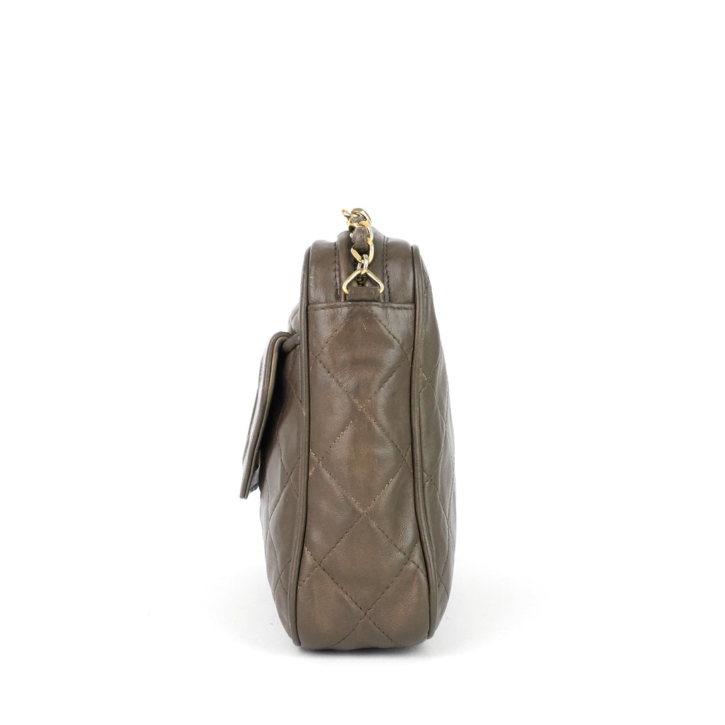 Lambskin Leather Crossbody Camera Bag