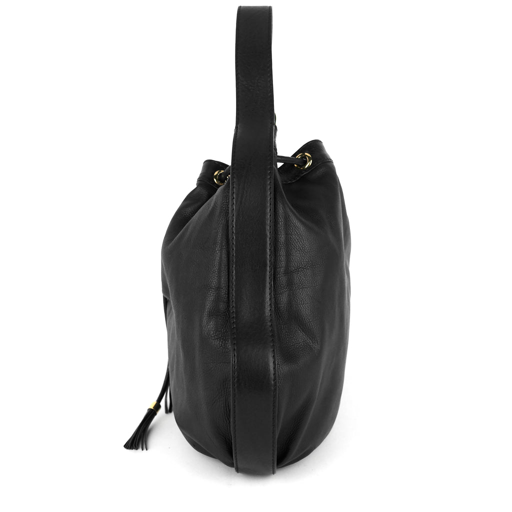 Drawstring Soft Leather Tote Bag