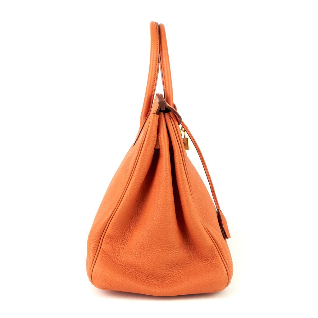 Birkin 35 Orange Clemence Leather Bag