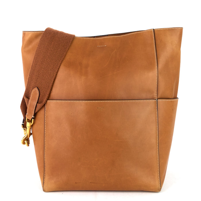 Sangle Large Natural Calfskin Leather Bucket Bag