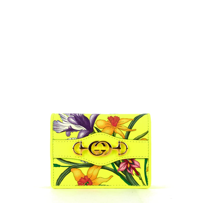 Flora Coated Canvas Flap Card Case