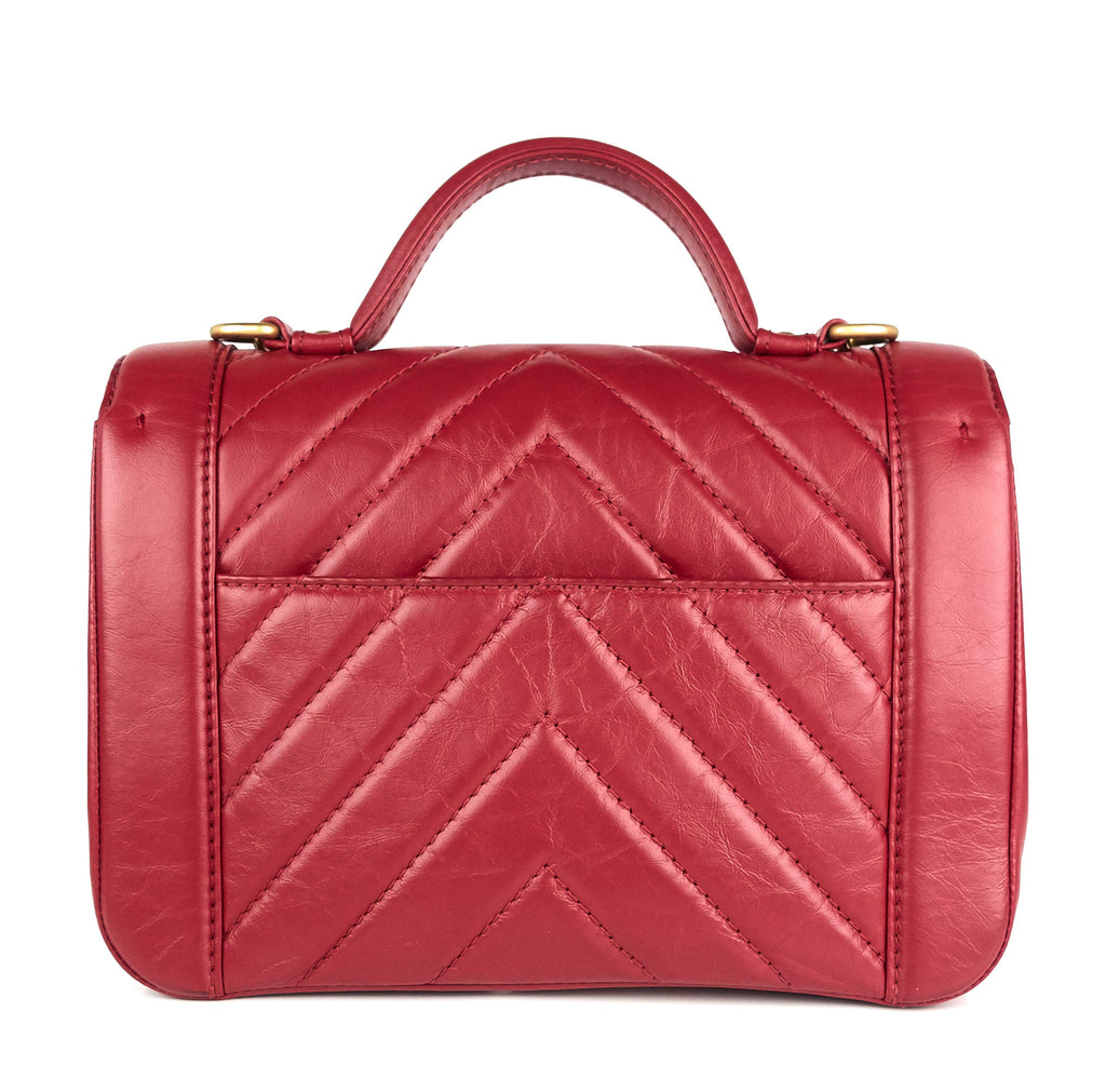 Quilted Chevron Calfskin Leather Top Handle Bag