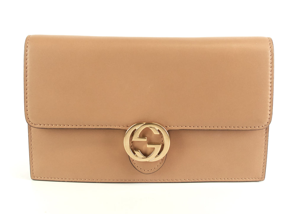 Leather GG Logo Wallet with Strap