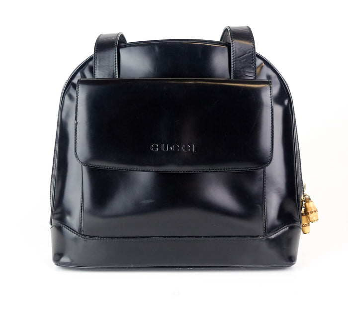 356cee9b1ca Patent Leather Front Flap Pocket Tote Bag · Gucci