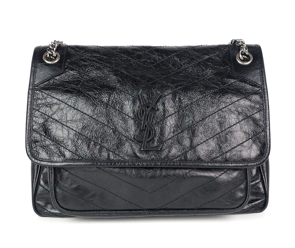 Niki Crinkled Calf Leather Large Bag