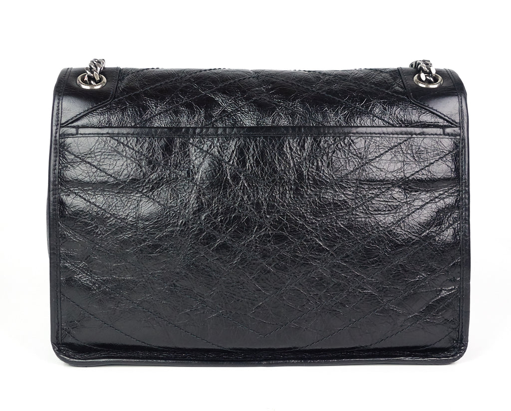 Niki Crinkled Calfskin Leather Large Bag