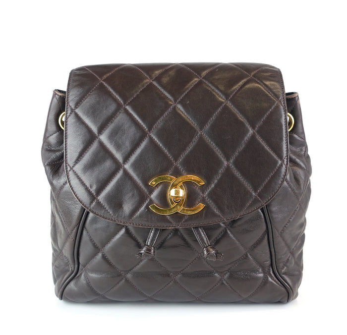 Quilted Lambskin Leather Small Backpack Bag