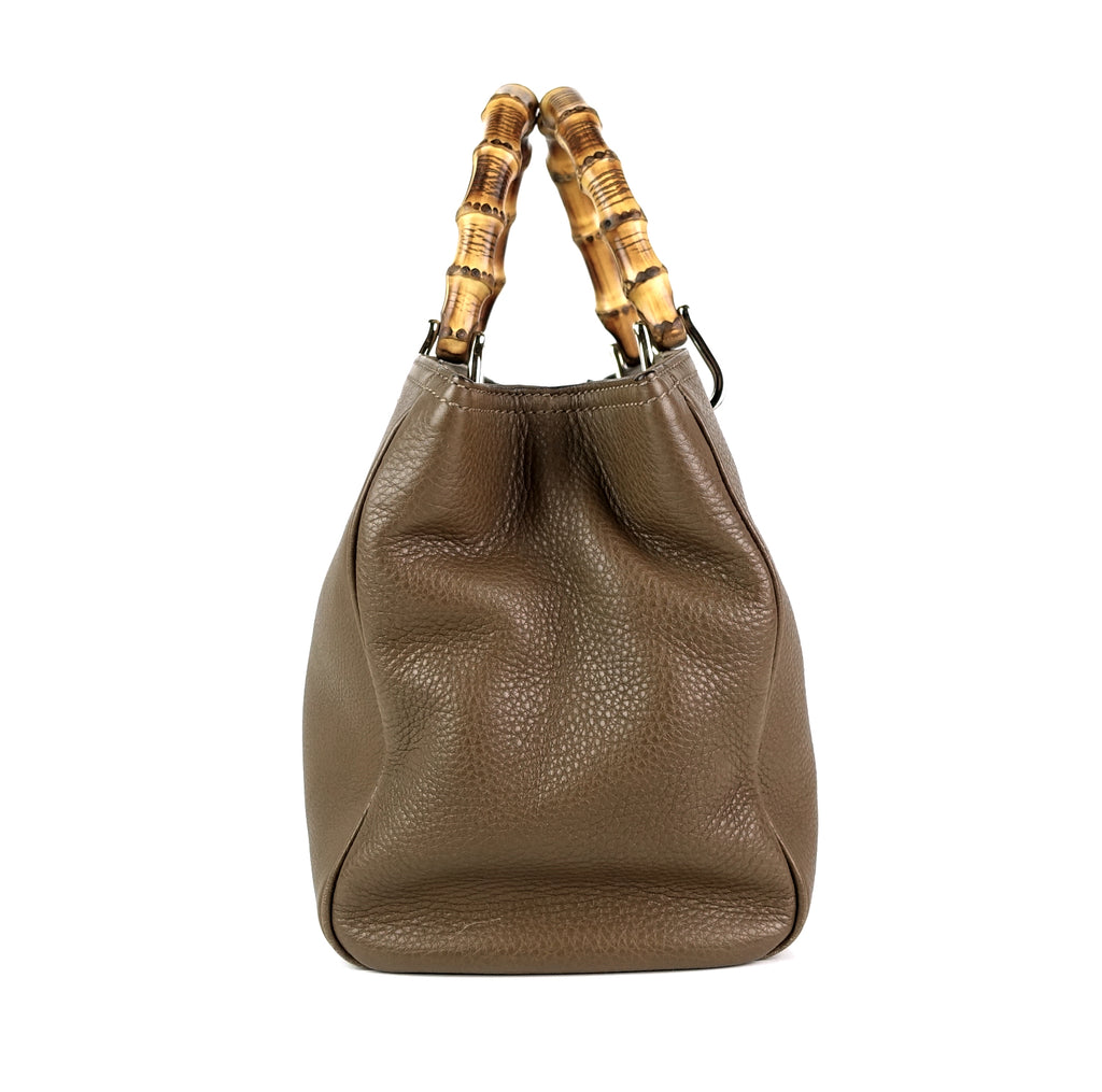 Pebbled Leather Bamboo Handle Shopper Tote Bag
