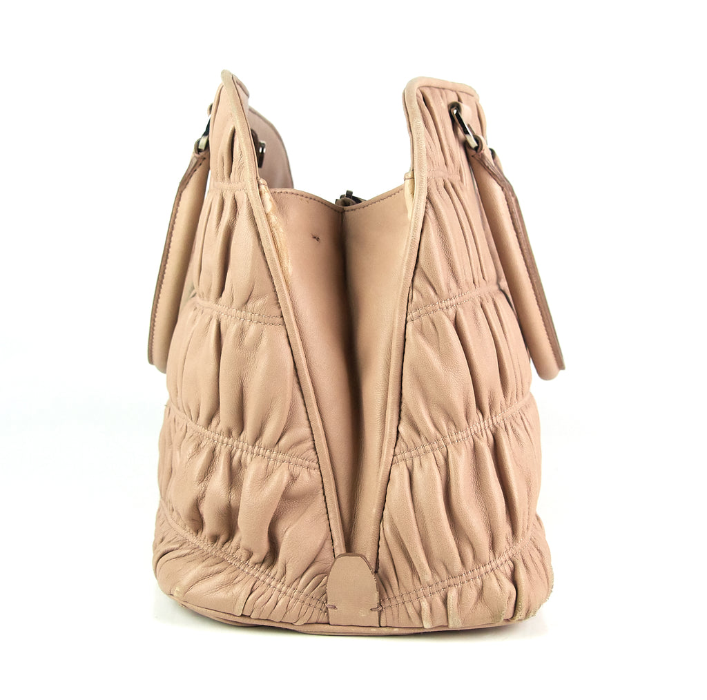 Gaufre-Stitched Leather Tote Bag