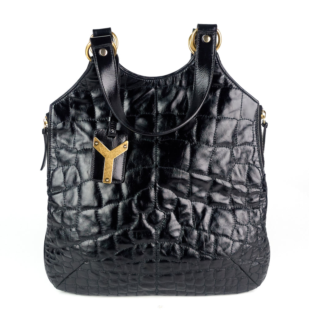 Tribute Crocodile Embossed Leather Tote Bag