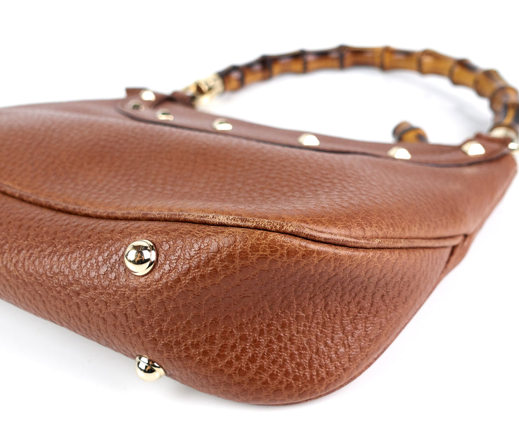 Jackie Pebbled Leather Bamboo Handle Bag