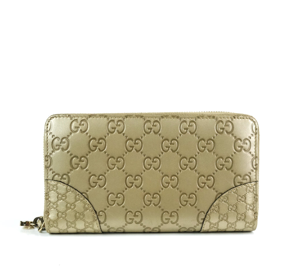 Signature Zip Around Guccissima Leather Wallet