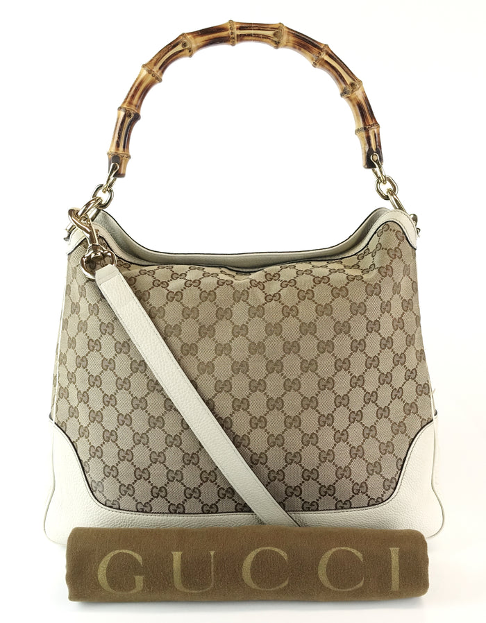 Diana Monogram Canvas Bamboo Handle Bag with Strap