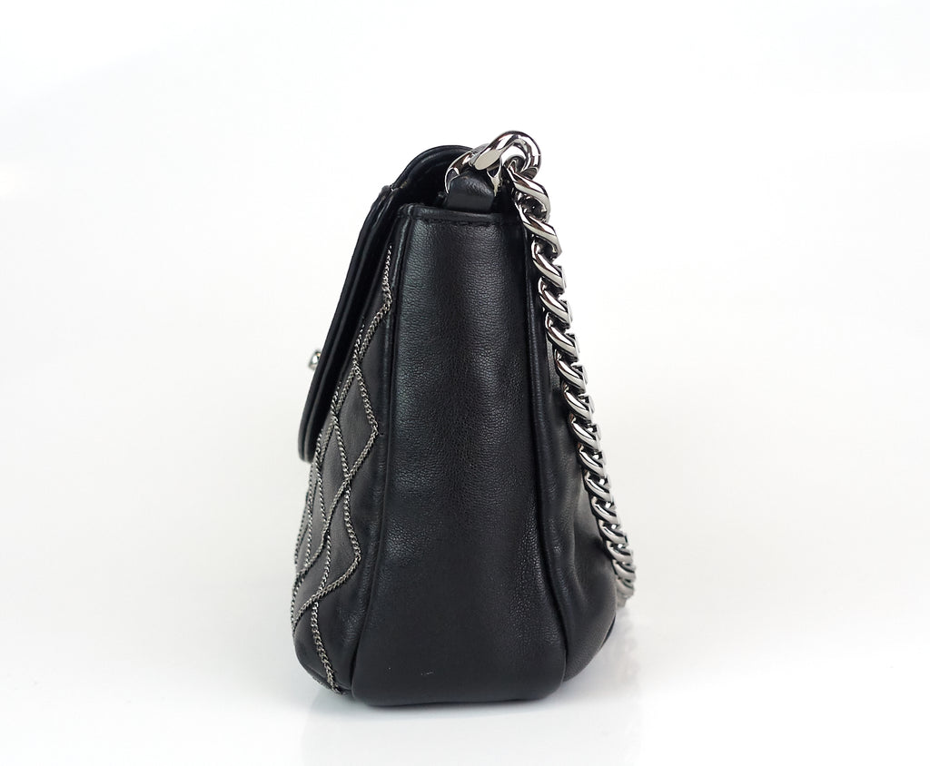 Lambskin Leather Chain Stitch Flap Bag