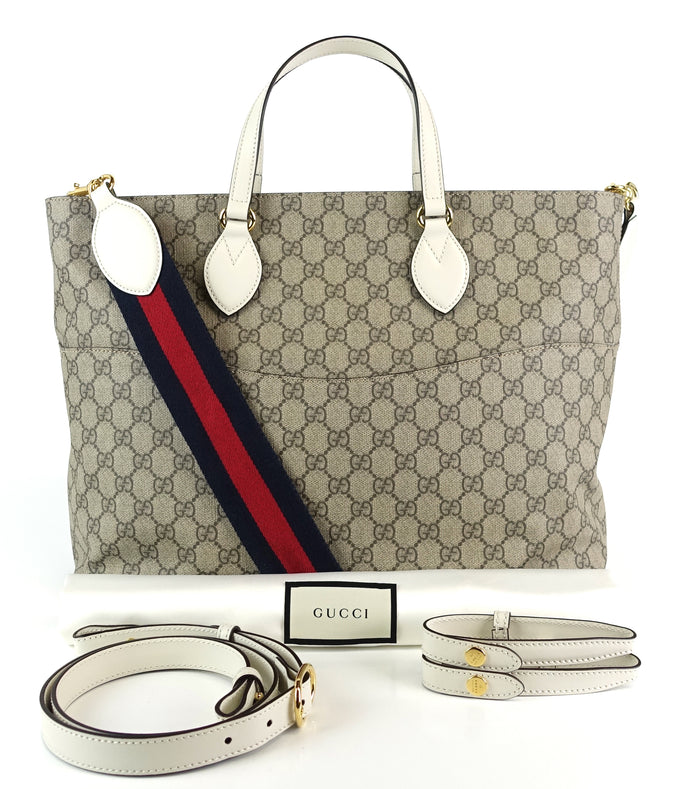 f0fe60d51 GG Supreme Canvas Top Handle Diaper Bag with Straps · Gucci