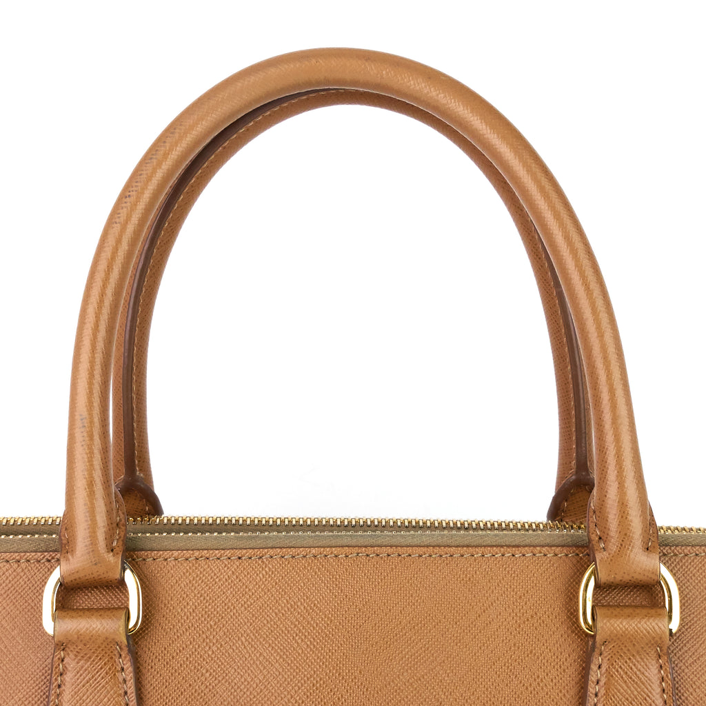 Lux Double Zip Saffiano Leather Bag