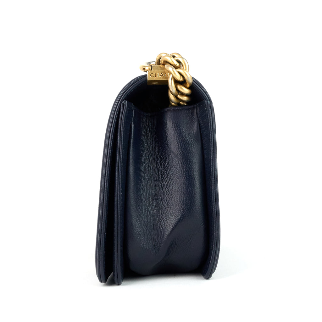 Boy Flap Old Medium Caviar Leather Bag