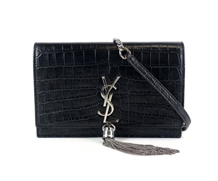 Kate Croc Embossed Calf Leather Tassel Bag