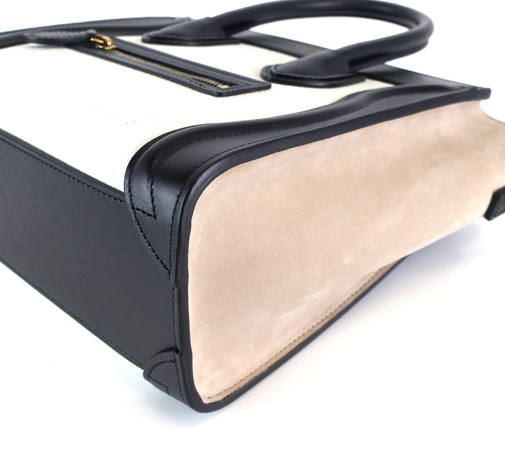 Calf Leather and Suede Tricolour Nano Luggage Bag