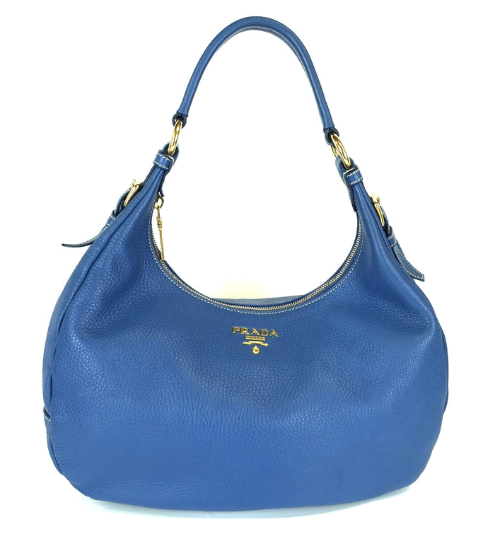 Vitello Daino Leather Zip Top Hobo Bag