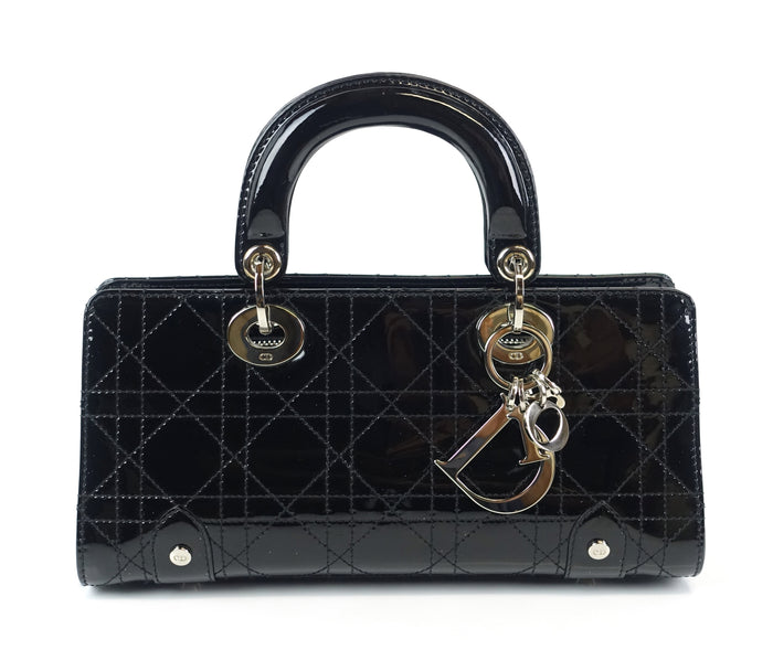 East West Cannage Patent Leather Bag