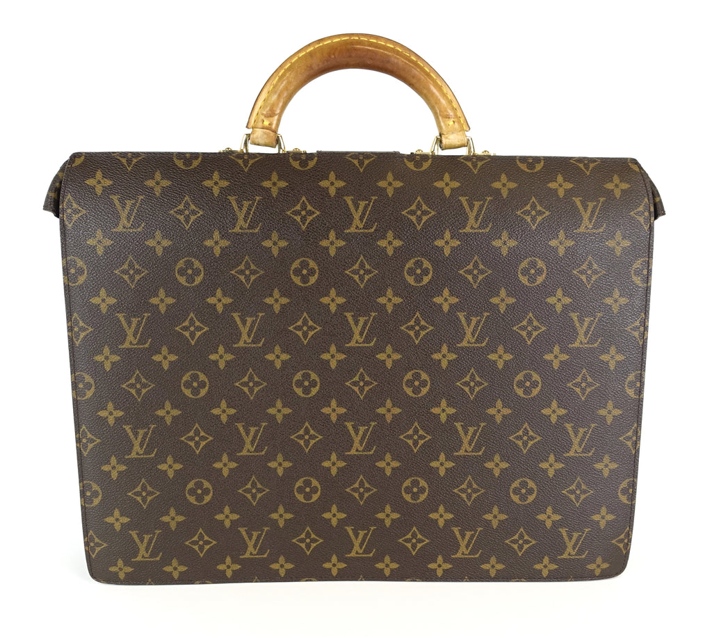Serviette Fermoir Monogram Canvas Briefcase Bag