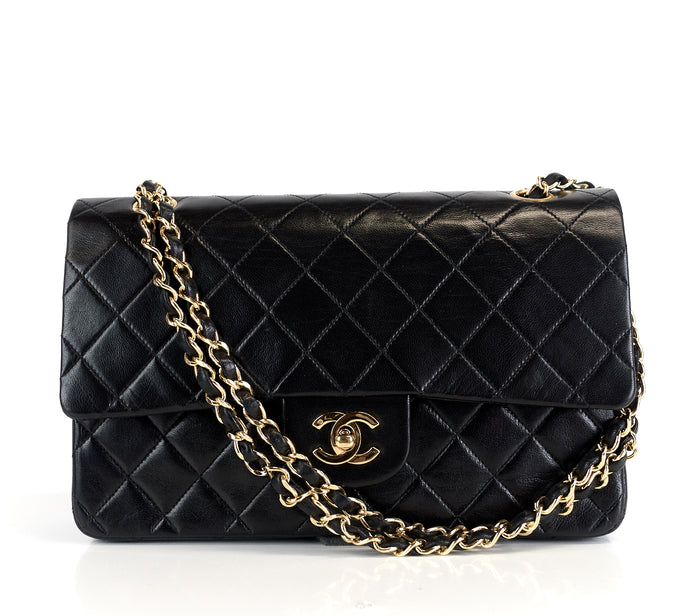 Double Flap Quilted Lambskin Leather Medium Bag