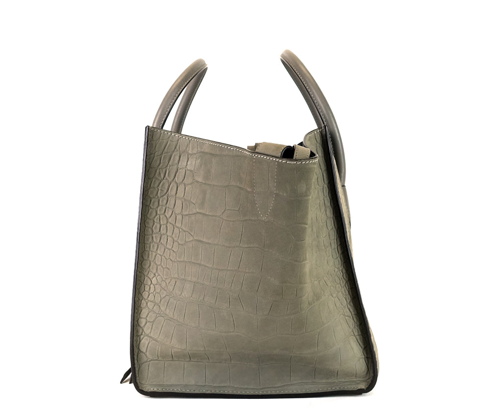 Phantom Crocodile Embossed Nubuck Medium Bag