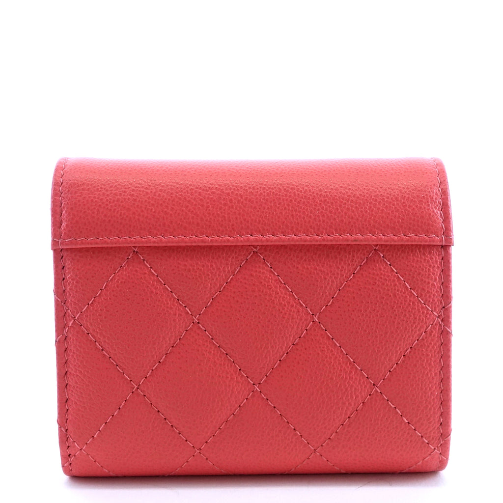 Quilted Caviar Leather Small Flap Wallet