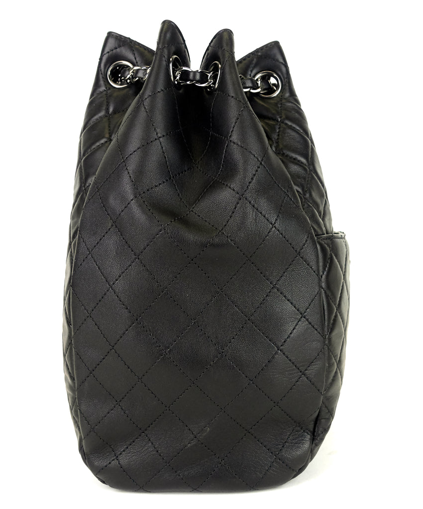 Drawstring CC Lock Quilted Lambskin Leather Bucket Bag