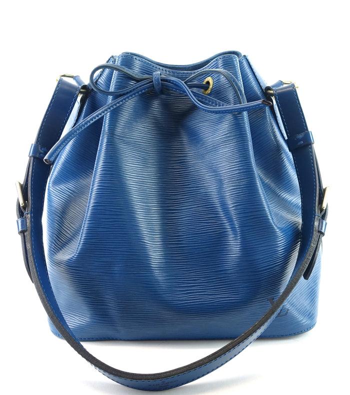 Petit Noe Blue Epi Leather Shoulder Bag