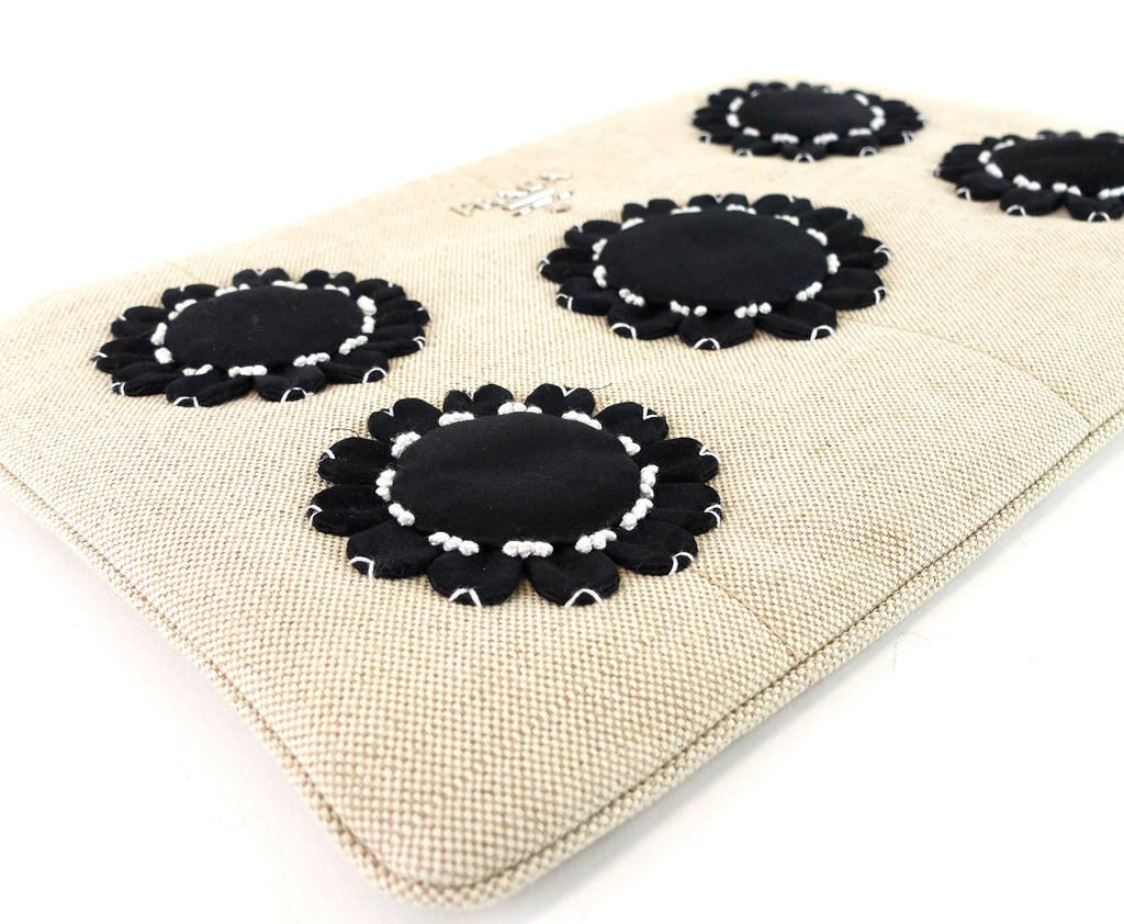 Mistolino Canvas with Flower Applique Clutch Bag