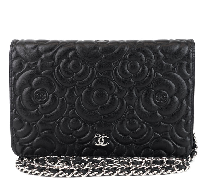 Camellia Wallet on Chain Lambskin Leather Crossbody Bag