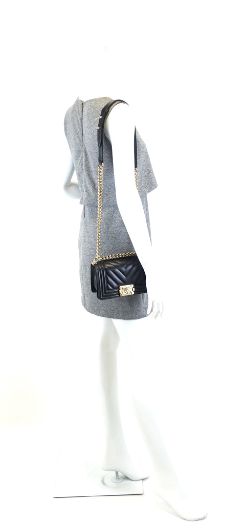 Boy Flap Small Chevron Lambskin Leather Bag