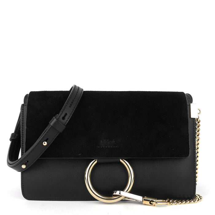 Faye Small Leather and Suede Bag