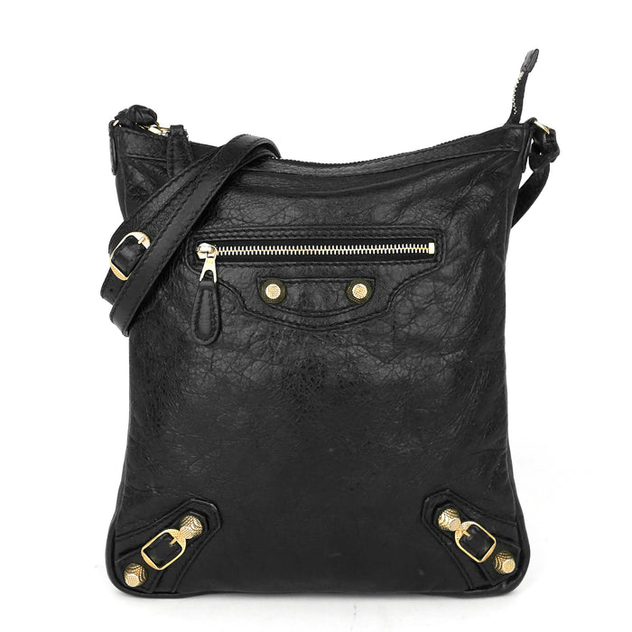 Classic Studs Flat Crossbody Agneau Leather Bag