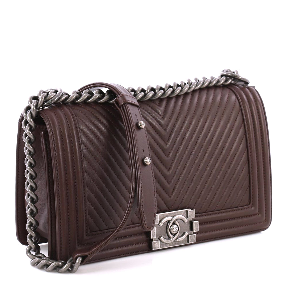 Boy Old Medium Chevron Lambskin Leather Bag