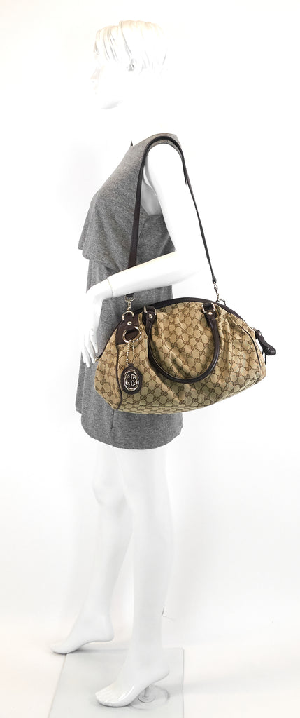 Sukey Monogram Canvas Boston Bag