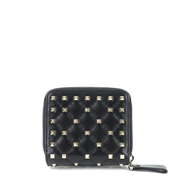 Rockstud Spike Compact Lambskin Leather Wallet