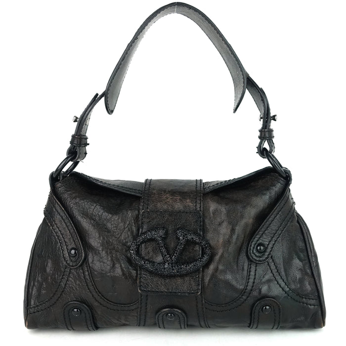 Catch Purse Crystal Logo Clasp Leather Bag