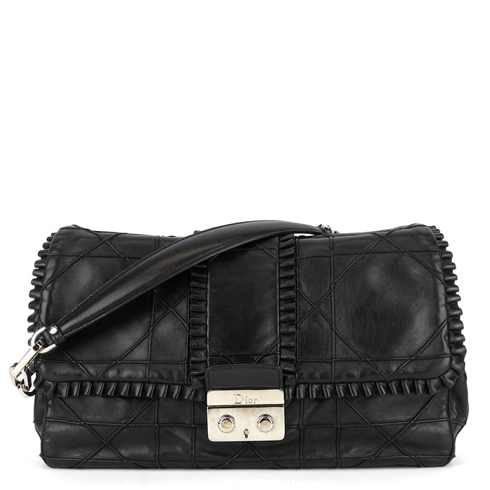 New Lock Ruffle Cannage Leather Flap Bag