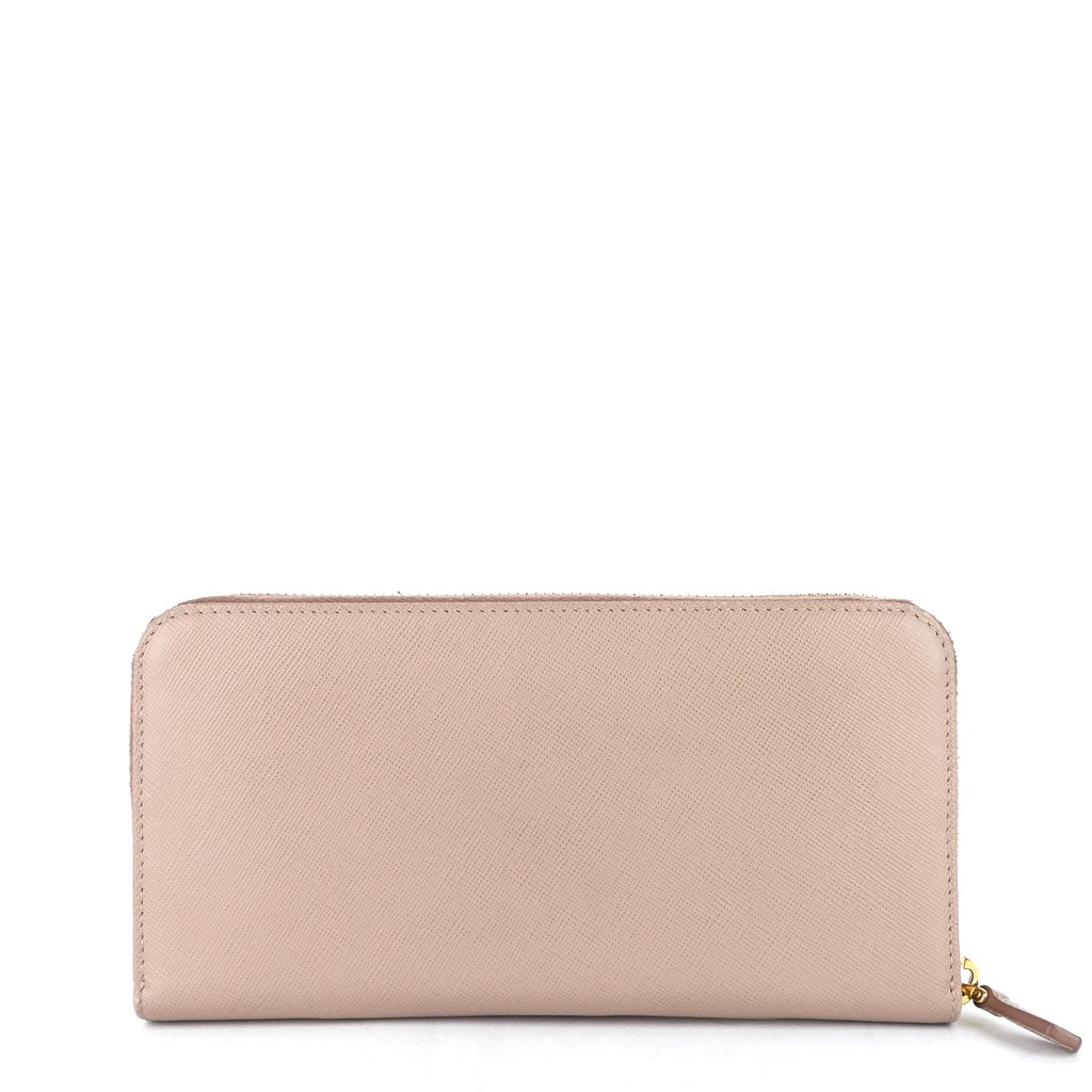 Zip Around Saffiano Leather Wallet