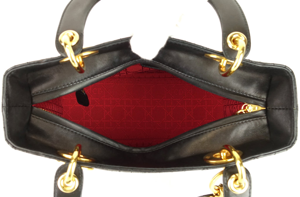 Lady Dior Medium Cannage Lambskin Leather Bag
