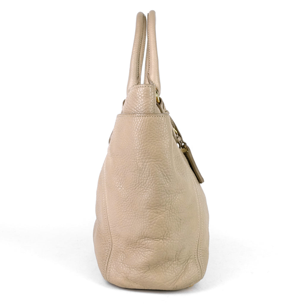 Convertible Side Pocket Vitello Daino Leather Hobo Bag